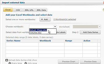 Select file to add data